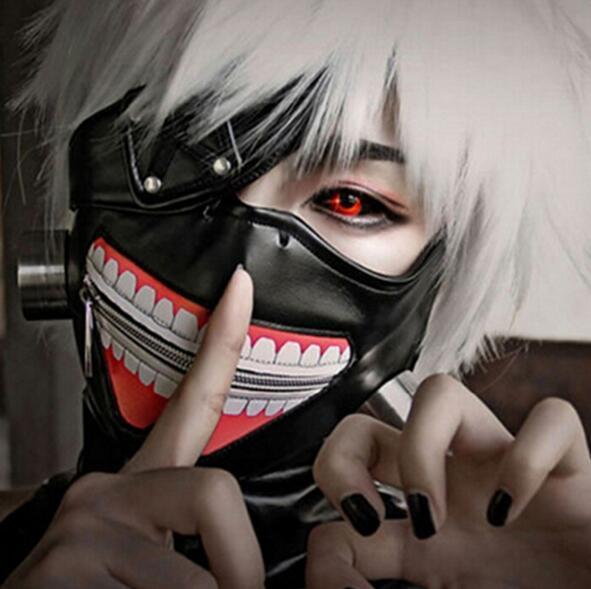 Экологичный Токио вурдалак маска Страшной Тушь маска Halloween Cosplay Kaneki Кен обезжиривание Хлопок PU партия Проп Anime Horror маска
