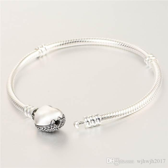 New European Snake Bracelet With Crystal Pave Heart Clasp Authentic 925 Sterling Silver Bracelets for Women Jewelry Diy Jewelry Accessories