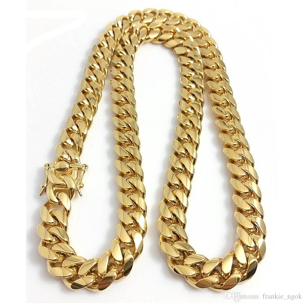 """Stainless Steel Jewelry 18K Gold Filled Plated High Polished Cuban Link Necklace Men Punk Curb Chain Dragon Latch Clasp 15MM 24""""/26""""/28""""/30"""""""