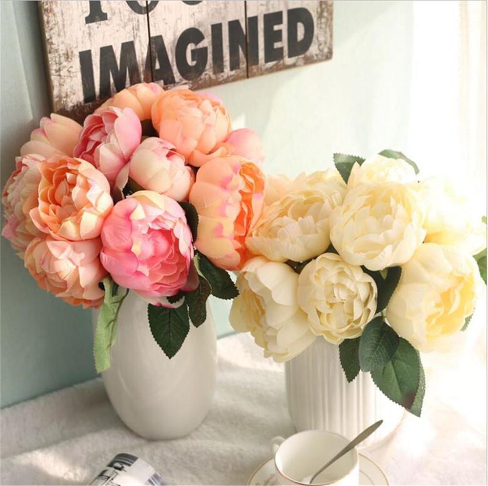 Grosshandel Silk Flower Bouquet Hochzeit Blumen Rosen Fur Braut