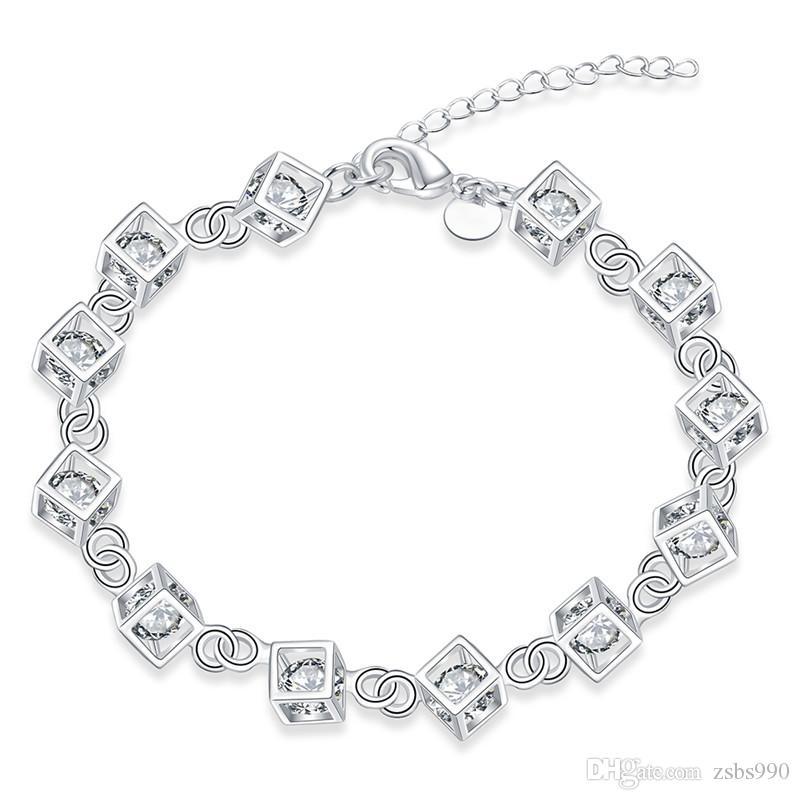 Moda Biżuteria 925 Srebrny Kryształ Charm Bransoletka Kobiety Najwyższej Jakości Christmas Gift Darmowa Wysyłka 10 sztuk / partia