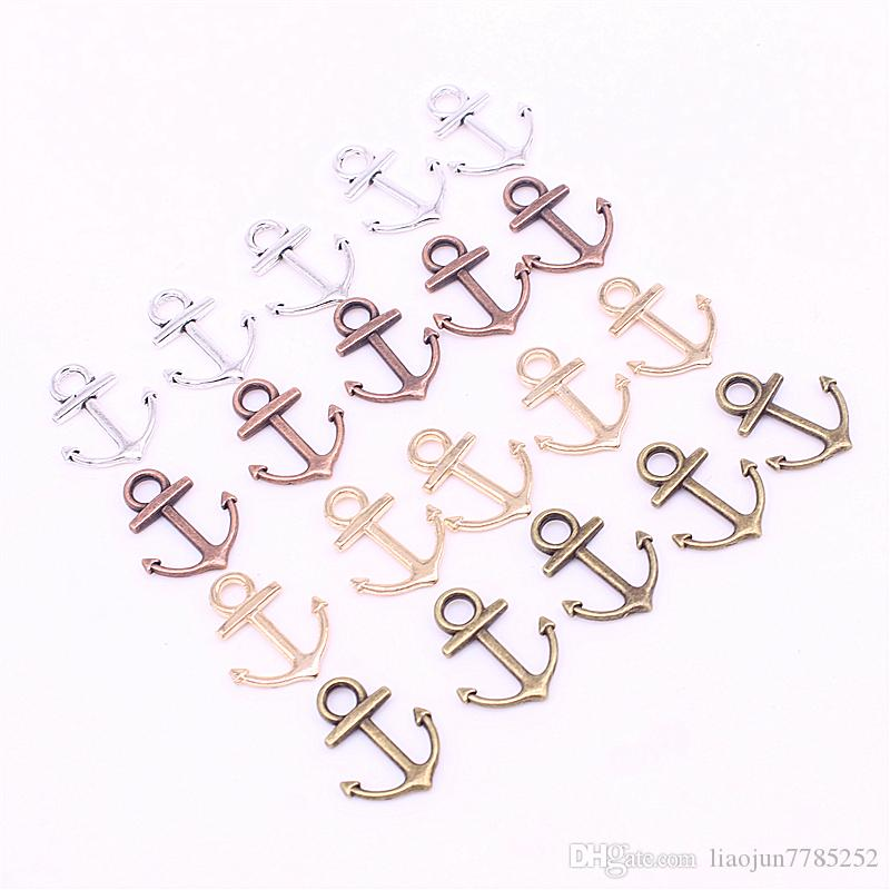 Sweet Bell Min order 15*19mm Four Color Metal Zinc Alloy Mixed mini Nautical Anchor Charms Diy Jewelry Pendant Charms D1208
