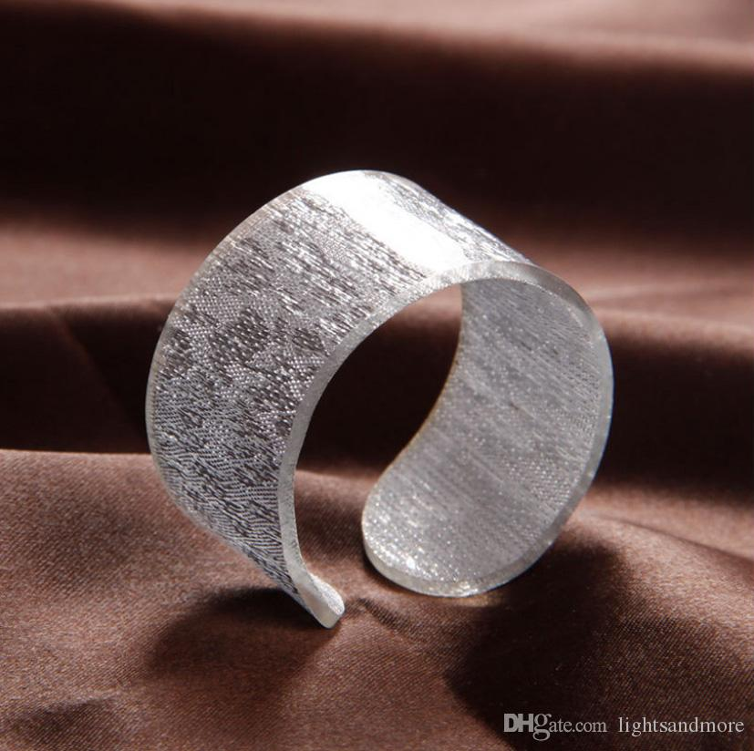 luxury golden and silver color acrylic napkin rings for wedding home party decoration