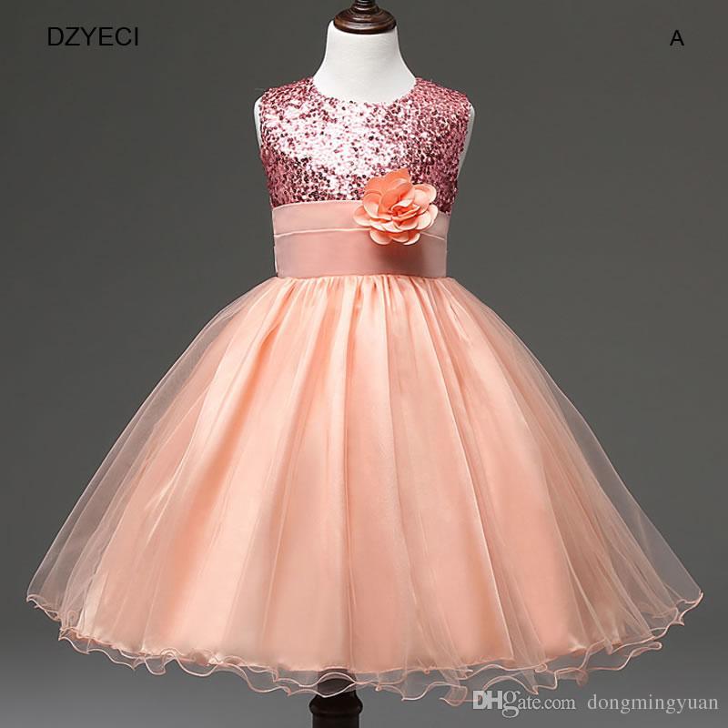 Flower Girl Dress Deguisement Costume For Children Sleeveless Sequins Belt Lace Princess Dress Carnival Bridesmaid Teenage Ball Gowns 10T