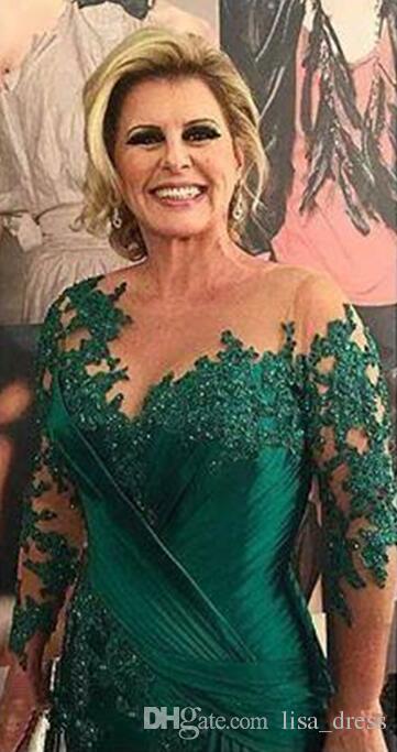 Темно-зеленое платье русалки для матери невесты Иллюзия с длинными рукавами Аппликации Атласная рюшами Платья больших размеров Вечерние платья