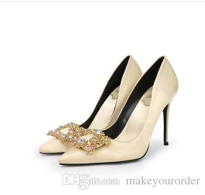 2017 도매 새로운 제품 샴페인 높은 뒤꿈치 뾰족한 발가락 가죽 실크 골드 결혼 여성 구두 360