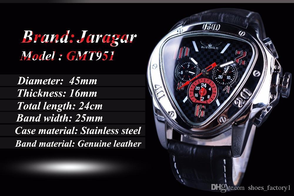 JARAGAR Top Luxury Brand Mens Watches New Men Triangle Shape Automatic Mechanical Watches Auto Date Wristwatch Relogio Masculino