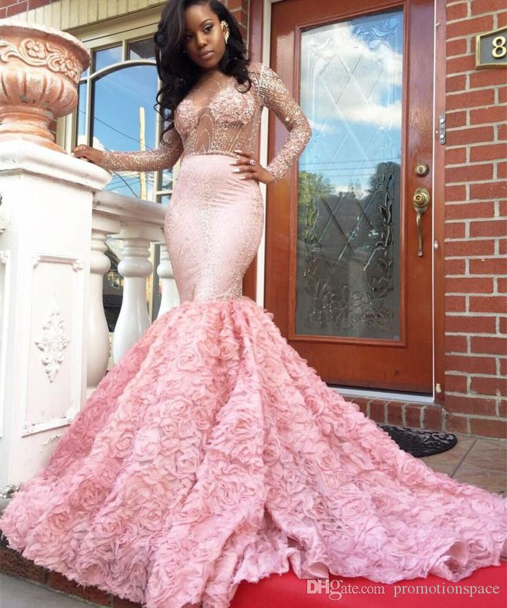 Beautiful Pink Prom Dresses Mermaid Long Sleeve See Through Neckline Flower Sparkly Crystal African Latest Evening Gown 2017