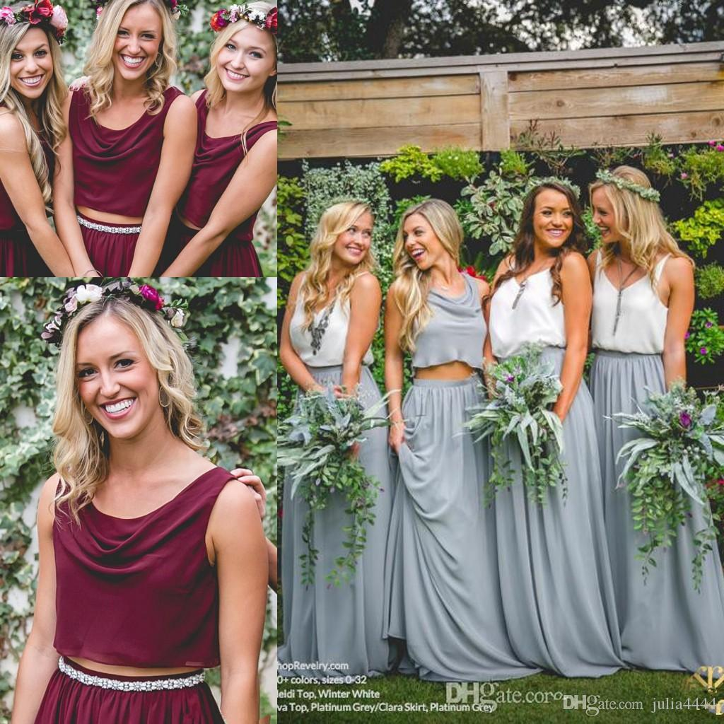 Two pieces country wedding boho bridesmaid dresses burgundy two pieces country wedding boho bridesmaid dresses burgundy chiffon scoop 2017 cheap long party prom gowns plus size maid of honor dresses two piece ombrellifo Gallery