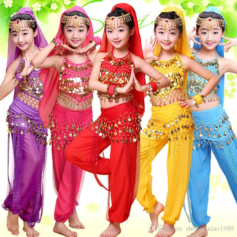 07e38fcb0 2019 New Children Belly Dance Dress Girls Indian Dance Folk Dance  Performances Costumes Competitive Suits Sexy Sequins Beaded Clothing Suit  From ...