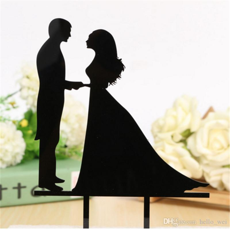 Personalized Black Wedding Cake Topper Acrylic Custom Name Cake Black Topper Custom Mr & Mrs Bilayer Casamento Structure Kitchen Dining Tool