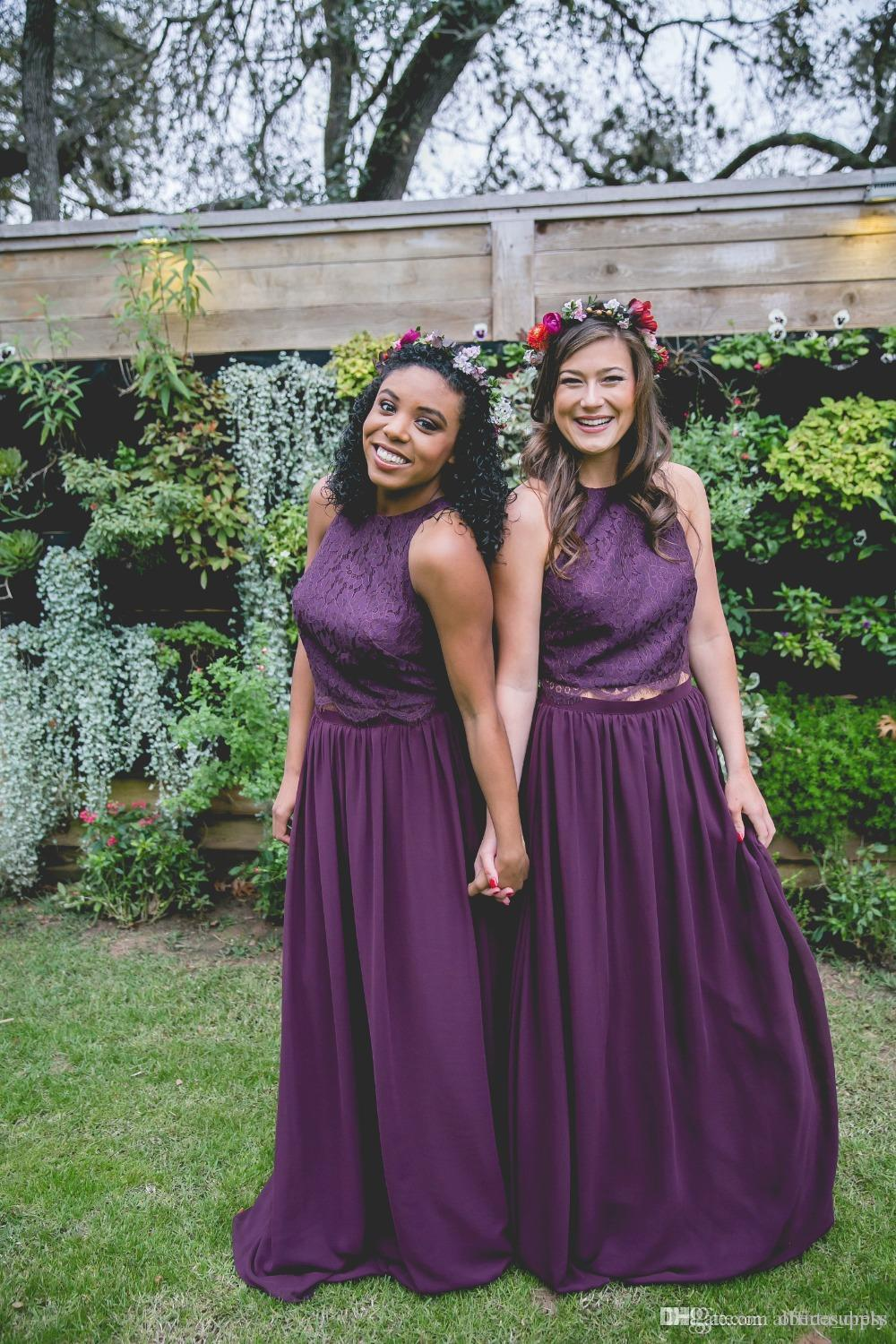 Country two pieces bridesmaid dresses 2017 cheap dark purple country two pieces bridesmaid dresses 2017 cheap dark purple chiffon long party wedding guest dress bridesmaids maid honor gowns bridesmaid dresses china ombrellifo Image collections