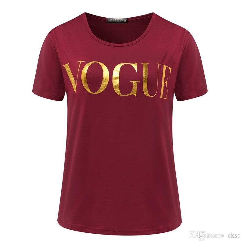 الموضة الذهبي VOGUE تي شيرت للمرأة الساخن رسالة طباعة قميص قصير الأكمام قمم بالاضافة الى حجم الإناث المحملات التي شيرت WT08 WR
