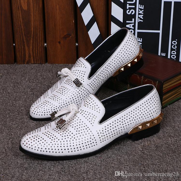37-46 zapatos de cuero genuino de los hombres de alta calidad de la boda Oxfords Rhinestones cristalinos blancos casuales para hombre mocasines zapatos de mujer