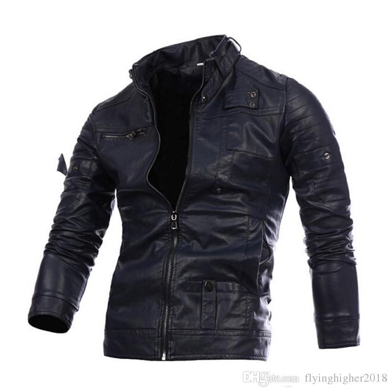 الرجال للدراجات النارية الأسود ذكر جاكيتات جلدية زر زيبر السائق الطيار الغنم معطف الساخن بيع M-2XL جودة عالية