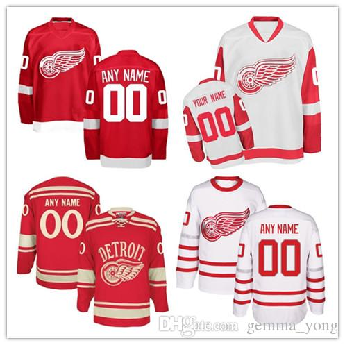 d47e5e7548f Customized Detroit Red Wings Hockey Jerseys Any Name Number 100th ...