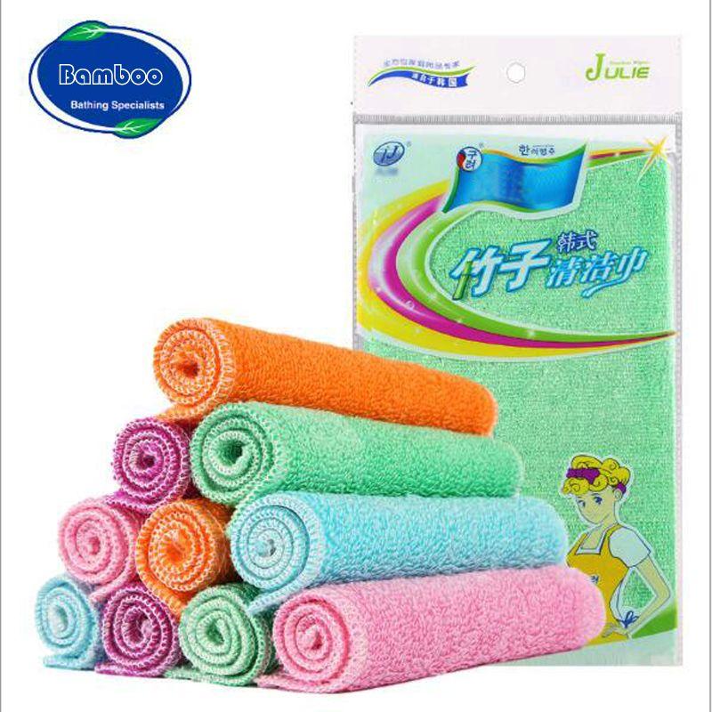 Top Quality Bamboo Fiber Cleaning Cloth Bamboo Clean Towel Dishcloth  Efficient ANTI-GREASY Magic Wash Cloth Kitchen Scouring Pad Dishcloth  Bamboo Cloth ... 671106b607b8b