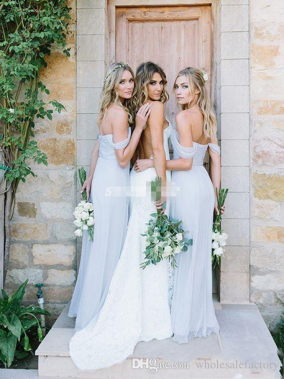 Försäljning Platser Sky Blue Bobo Brudtärna Klänningar med Cap Sleeves Sweetheart Backless Long Bridesmaid Gowns Bröllop Gästklänningar till salu 2018