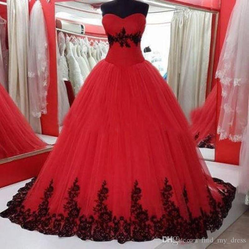 Sweetheart Red And Black Appliques Ball Gown Lace Wedding Dress 2017