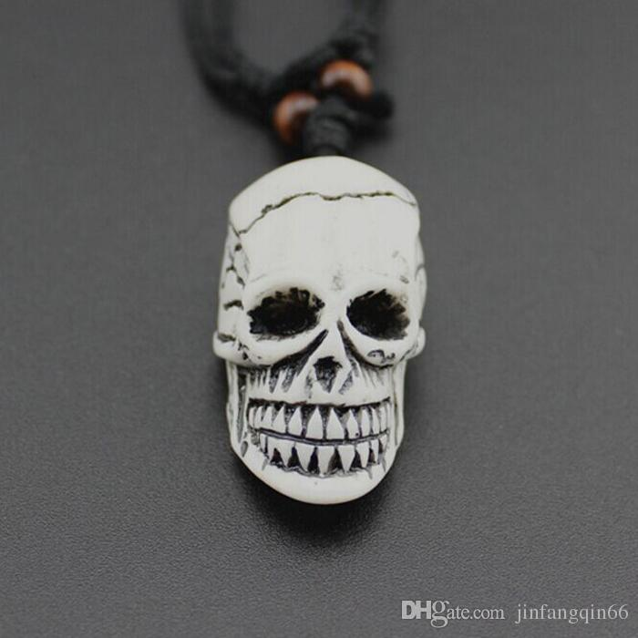 New European and American Fashion Imitation Bovine Bone Skull face Pendant Wax Cord Necklace Length Adjustable Jewelry