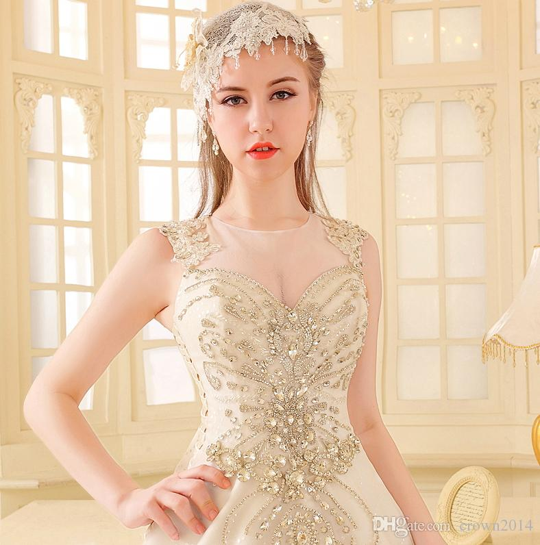 Luxury Crystal Bright Diamond Sexy Wedding Dress Ball Gown 2019 Crystal Tulle Sheer Neck Lace Court Train Wedding Bridal Gowns With Big Bow