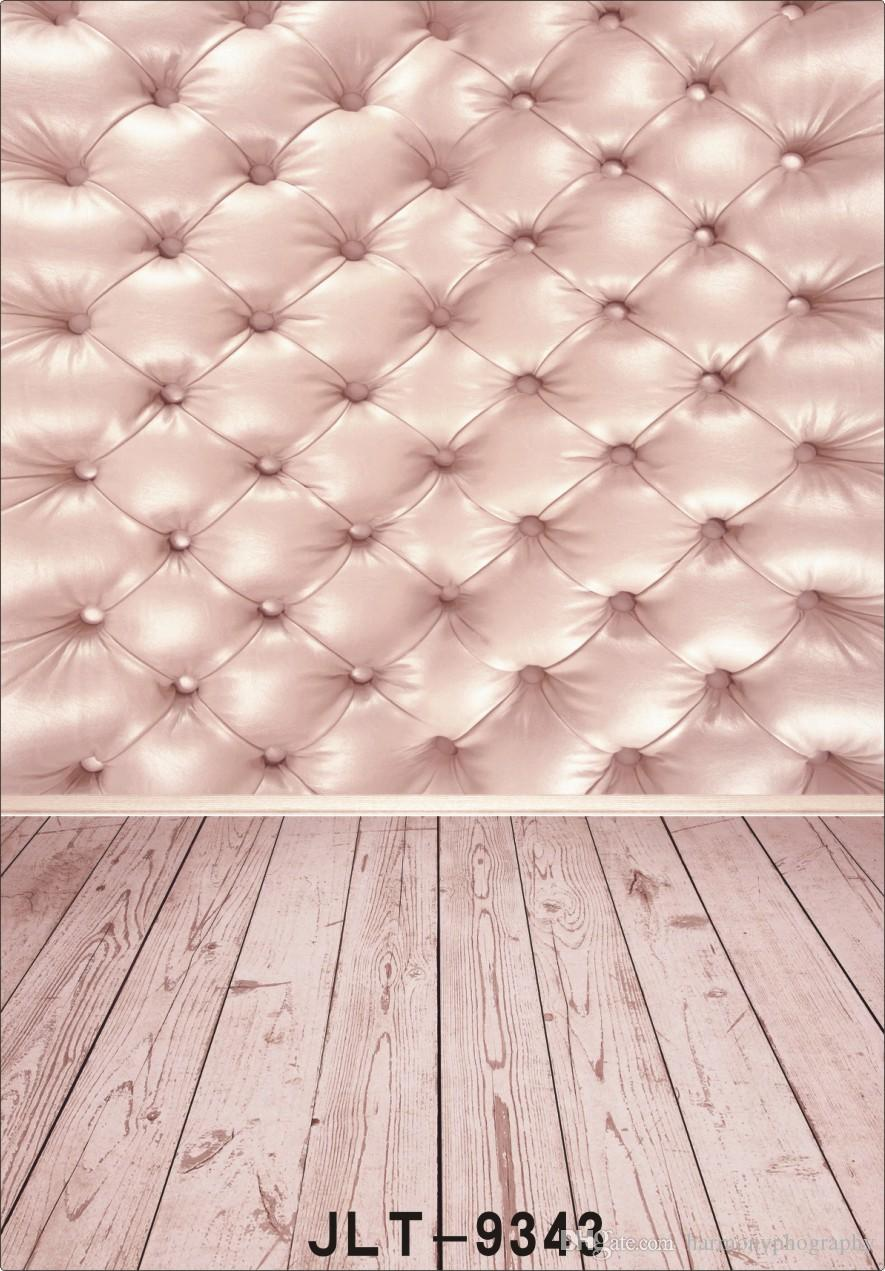 2018 Pink Tufted Cloth Bed Headboard Wood Floor Photography Background For Wedding Children Baby Computer Printed Vinyl Backdrop Photo Studio From