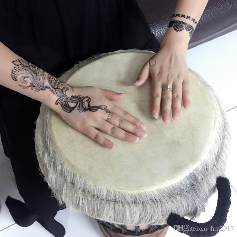 Black white henna taty Fake Lace tattoo stickers Metallic temporary flash tattoos Arabic Trendy Tattoo Tattoos new