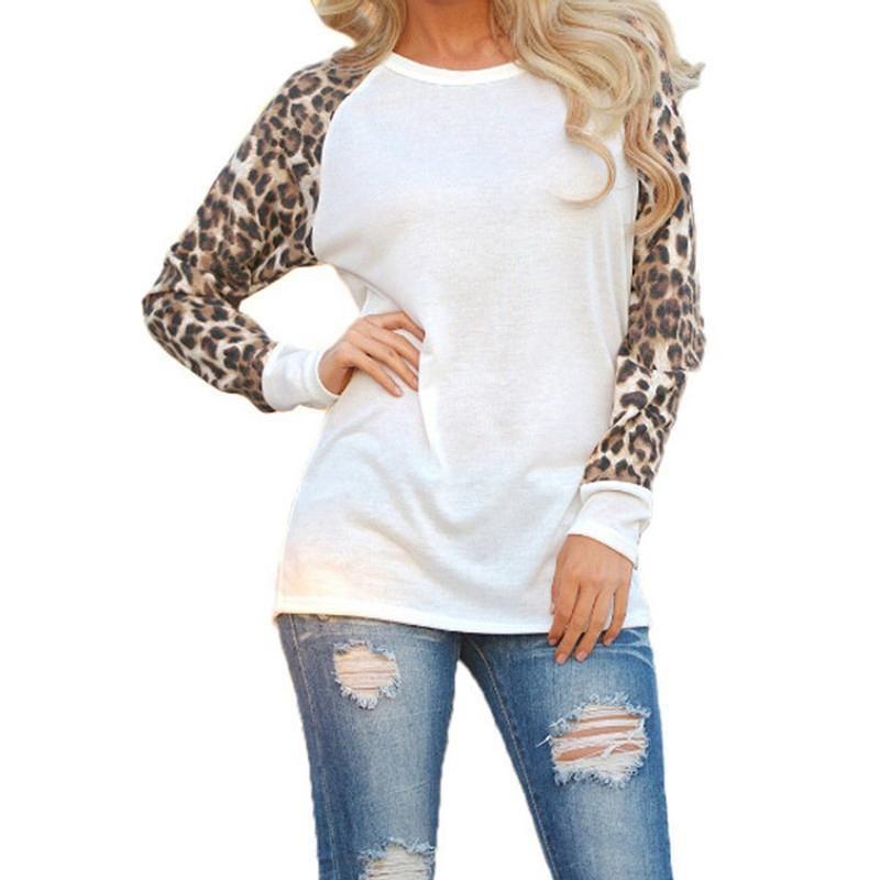 3c12b7b61603 Women Fall Long Sleeve O Neck T-shirt Leopard Sleeve Loose Casual Tees  Women's Fashion Tops Plus Size White/Black/Gray