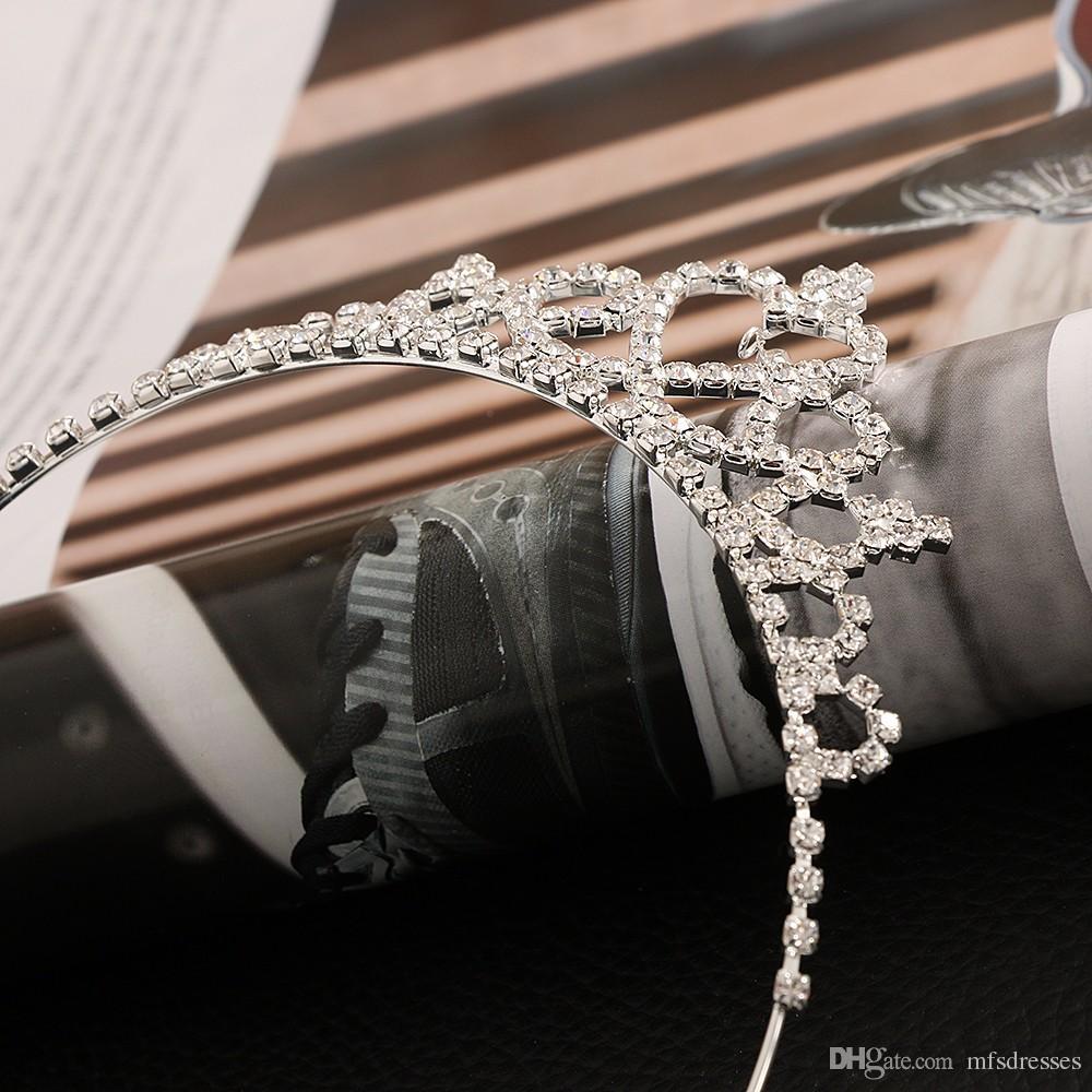 Corona infantil Diadema Bebé Niñas Princesa Cristal Perla Corona Diamante Diadema Mujeres Headwear Kid Banda de pelo Accesorios
