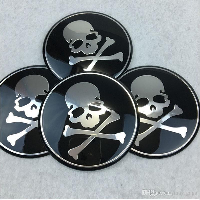 Car Styling 65 MM Cabeça De Crânio De Alumínio Centro de Roda Hub Cap Emblema Decalque Esqueleto Roda Adesivos Universal Fit
