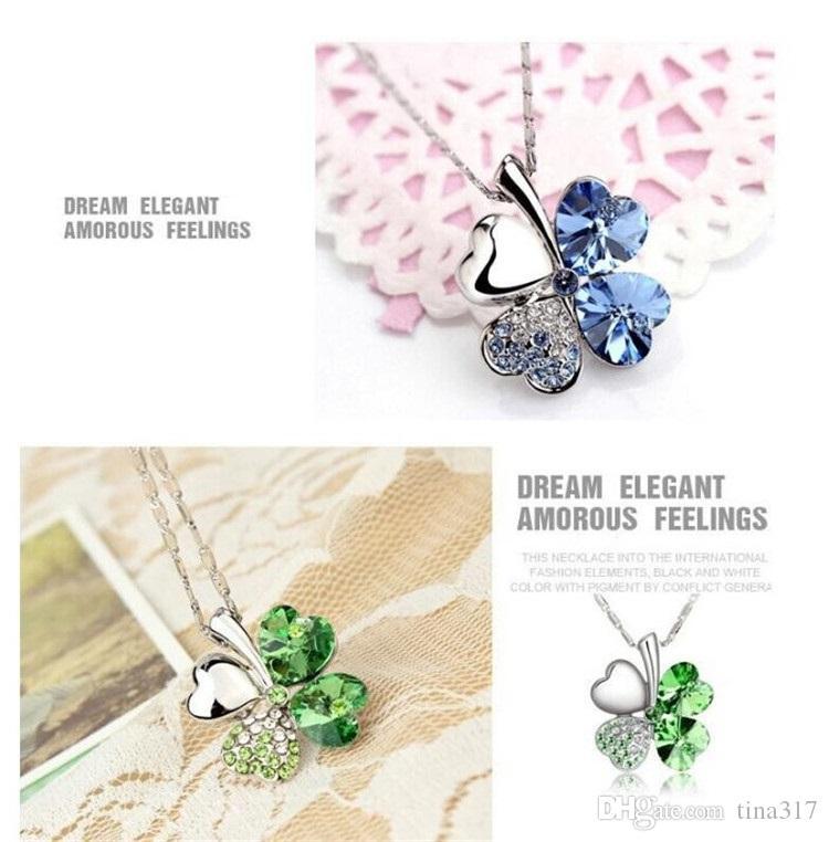 Mode blütenblatt necklaced Four Leaf Clover halskette erstklassige diamant-halskette multicolor kristall strass halskette Anhänger Halsketten