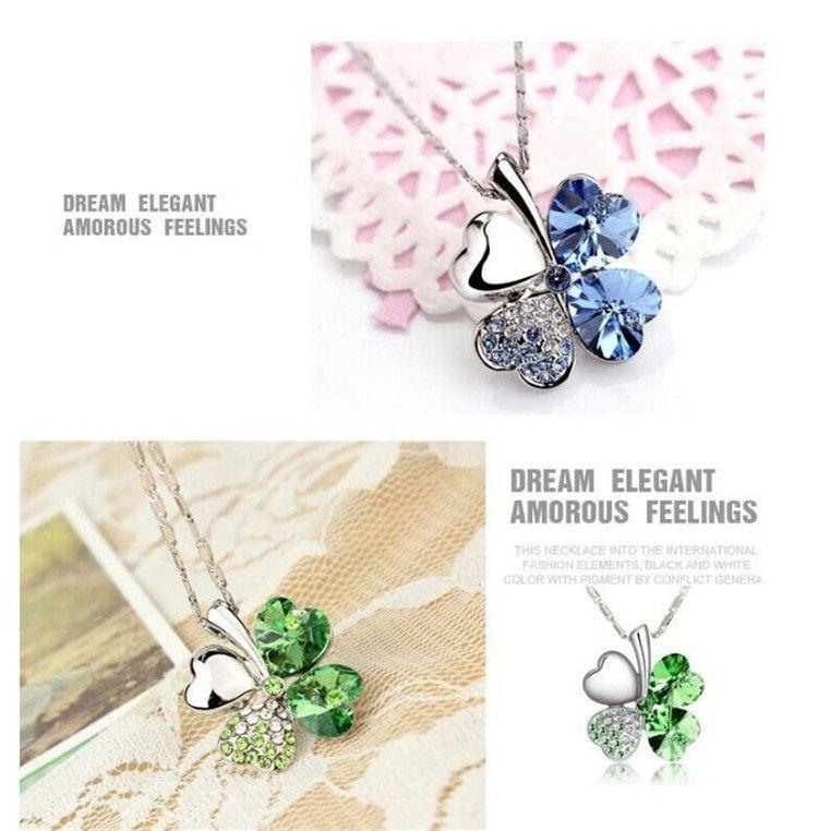 Мода лепесток necklaced четыре листа клевера ожерелье топ класса Алмаз ожерелье многоцветный Кристалл горный хрусталь ожерелье кулон ожерелья 2337-2