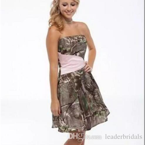 Short Camouflage Wedding Dresses Strapless Summer Mini Camo ...