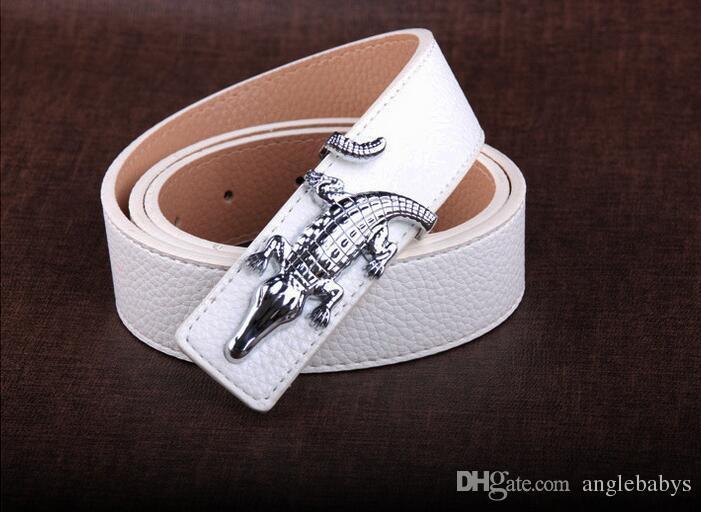 2017 Fashion crocodile belt buckle slivery brand designer mens belt luxury high quality belts for men Jeans pants genuine leather belts