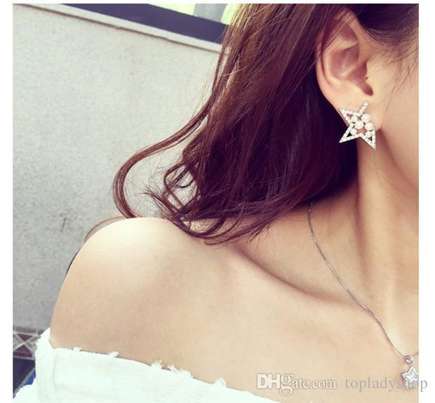 Diamantes de perlas para mujer ahuecados pendientes de estrella de cinco puntas pendientes envío libre