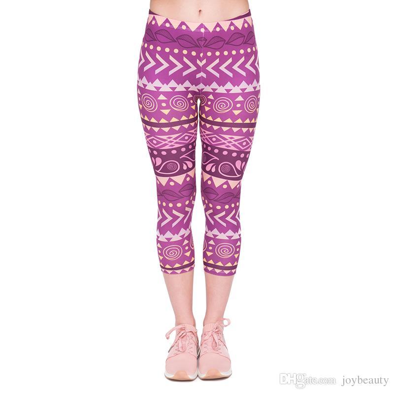 750e1e187f8 2019 Girls Capri Leggings Boho Purple 3D Graphic Printed Women Comfortable  Cropped Trousers Lady Capri Pants Free Size Fits XS S M L J45778 From  Joybeauty