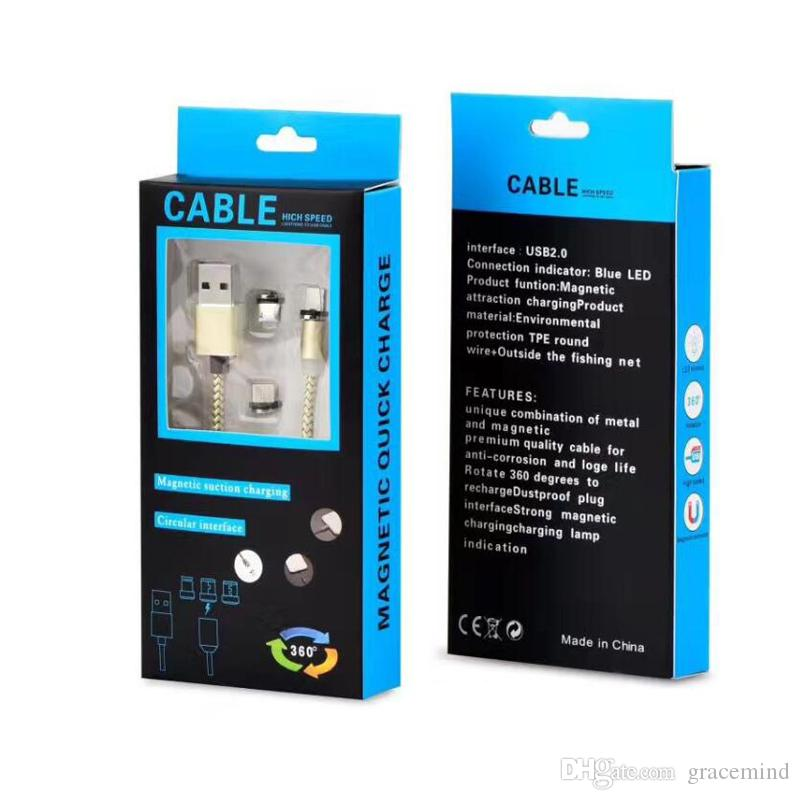 Magnetic Braided Type-C/Micro USB Round Fast Charger Cable for Samsung S8 S7 Mobile Phone Cables With Retail Packing