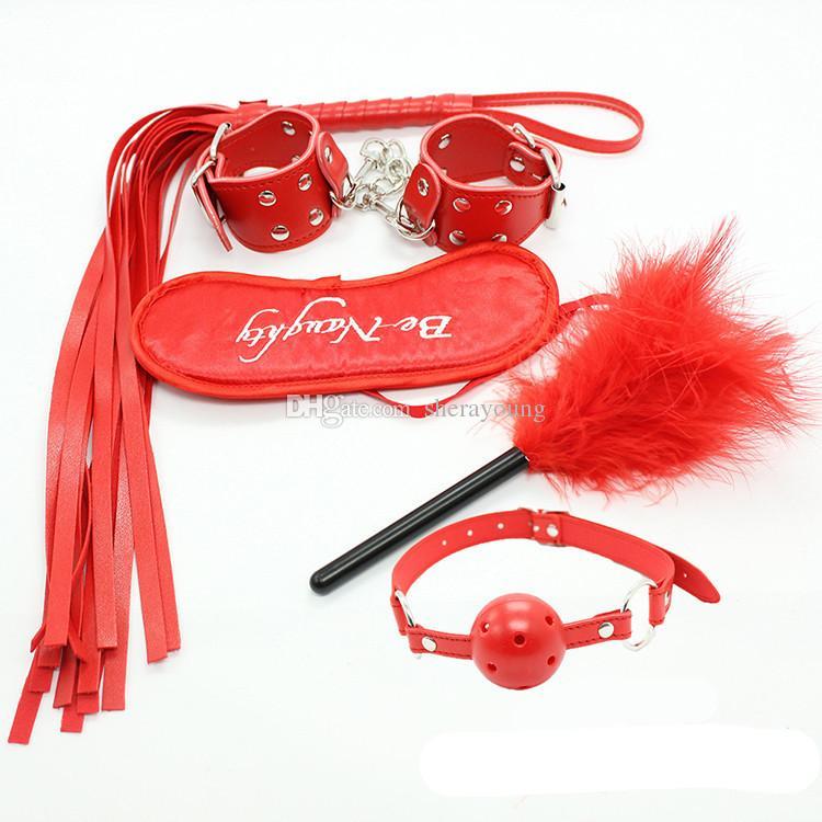 5 in 1 bondage kit bdsm gear adult sex toys handcuffs spanking whips eye mask ball gag nipple teaser kinky play women GN332000015
