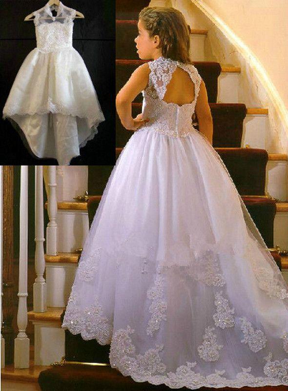 Hot Sale Flower Girl Dresses with Train Keyhole Back Wedding Party Communion Pageant Dress for Little Girls Kids/Children Dress