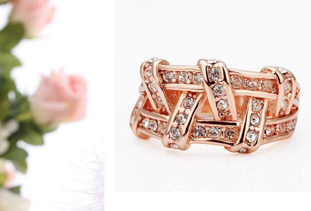 Designs Gold Plated Crystal Ring Weave Health Diamond Jewelry Engagement Rings for Women DHL Free Creative Style in Europe Christmas Gift