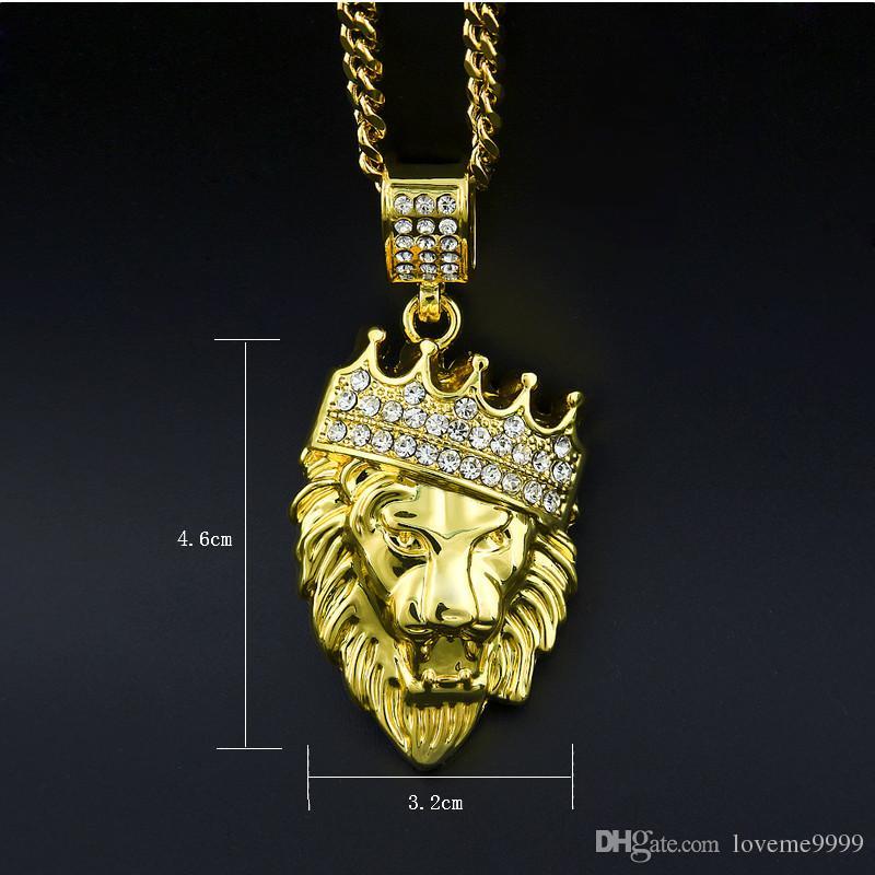 Высокое качество 24 к позолоченные мужские хип-хоп Лев глава корона горный хрусталь ожерелье рэп Золотой Король Лев подвески короли кубинские цепи ожерелье мужчины