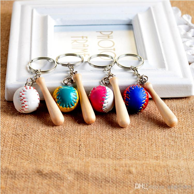 Adorable Key Chain 4 Styles Baseball Gloves Wooden Bat Keychains Ring Cartoon Keychain Baseball Party Birthday Christmas Present F934E