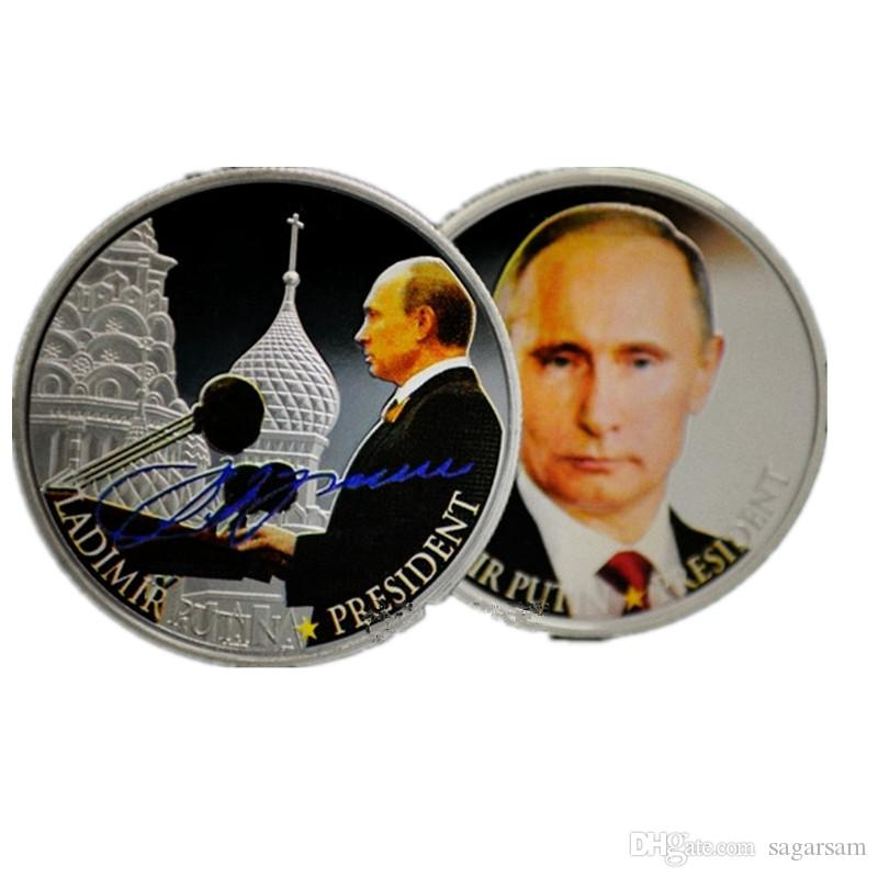Non magnetic Brand new vladimir putin the president of Russia silver Plated 40 mm x 3 mm Russian souvenir decoration coin