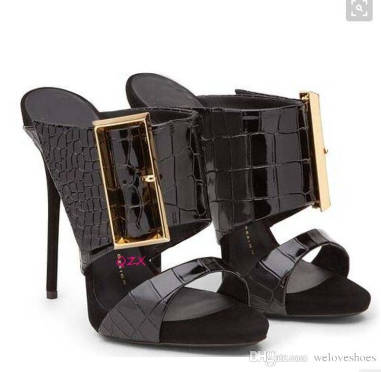 2017 Женская мода пряжки сандалии змеиная кожа печать кожи высоких каблуках туфли с открытым носком Гладиатор сандалии тонкий каблук слайды сандалии