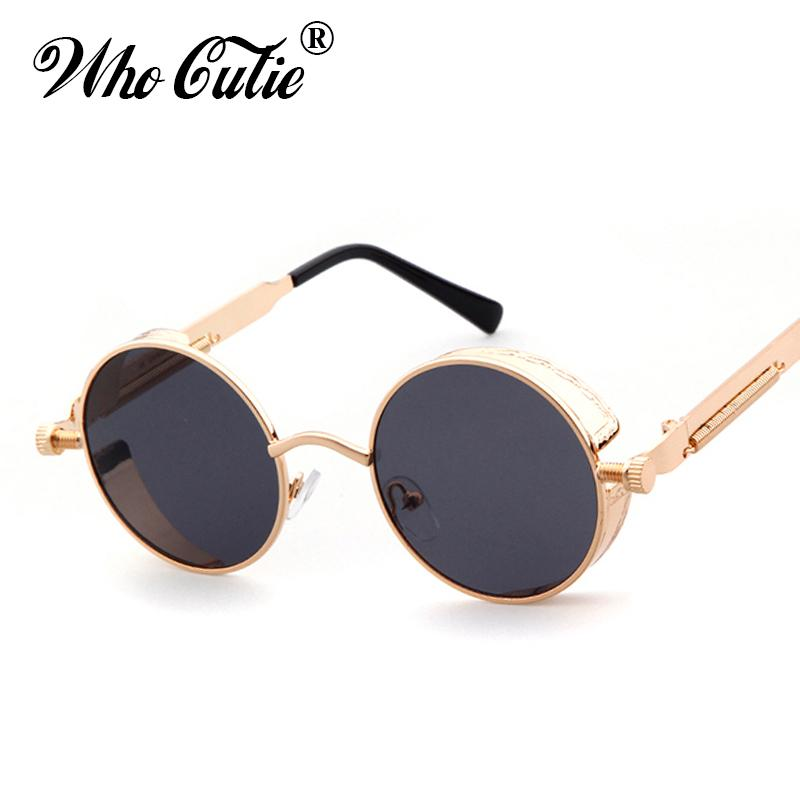 b138f9ddf1 WHO CUTIE 2018 Round Shades Gothic Steampunk Sunglasses Men Women Brand  Designer Rose Gold Pink Mirror Punk Sun Glasses OM418 Prescription  Sunglasses Online ...