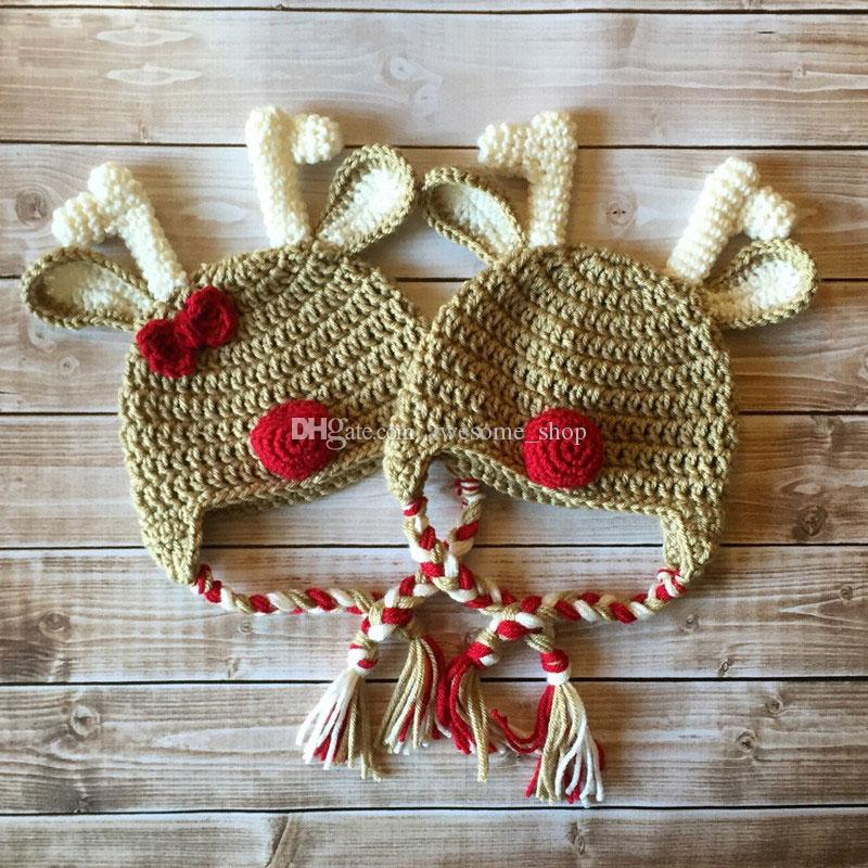 fa1f281cd1582 2019 Handmade Crochet Baby Boy Girl Twins Reindeer Hat