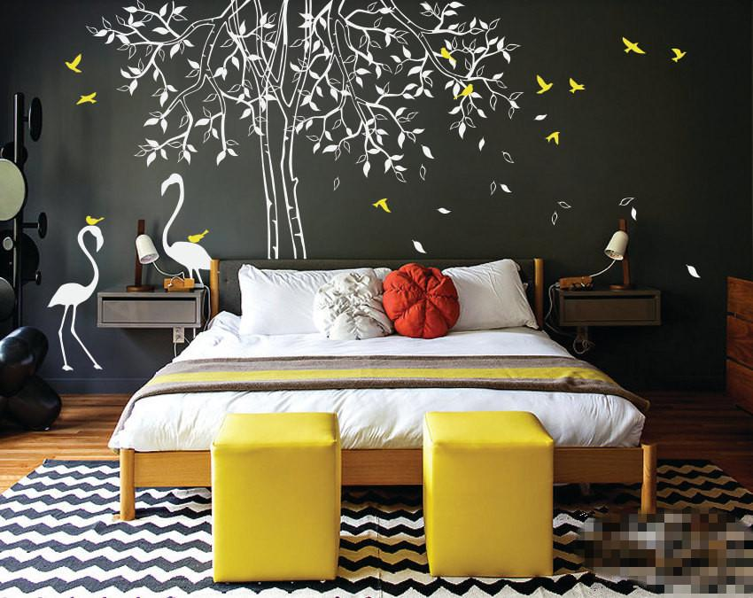 Individual Design Large Nursery Tree Wall Decal With Flamingos Wall  Stickers For Kids Room Waterproof Vinyl Large Tree Wall Art Graffiti Wall  Stickers ...