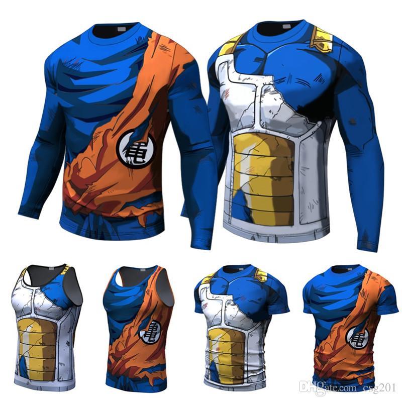 8c507f57df Compre Camisetas Para Hombre Dragon Ball Z Impresión 3D Anime Verano  Camisetas De Manga Corta Corta Vegeta Goku Blusa Cosplay Divertido Tees  Streetwear A ...
