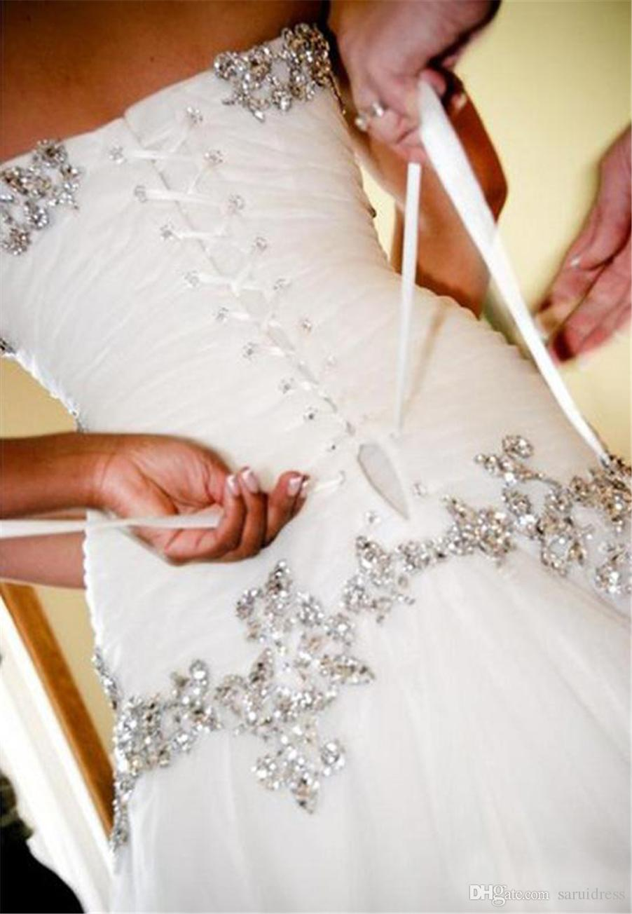 A-Line Sweetheart Bling Bling with Tulle Beaded Lace Up at Back Chapel Train Bridal Gowns Pnina Tornai Wedding Dresses