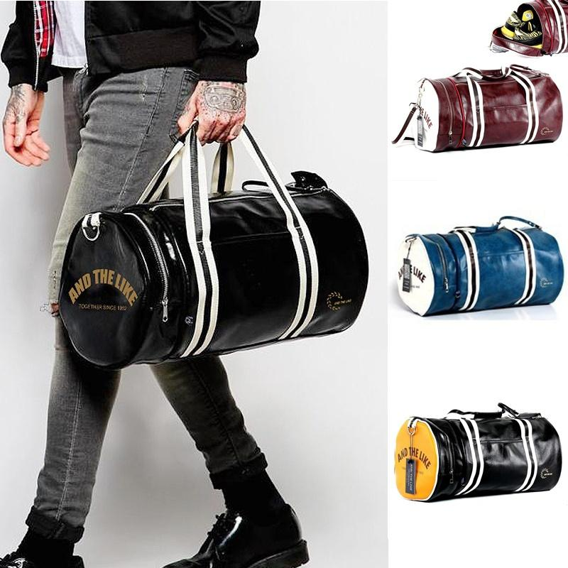 2019 Men Soft Leather Barrel Travel Bag Fashion High Capacity Bag For Men  Waterproof Shoulder Luggage Bolsa Deporte Duffel Bag From Chen394931608 b060050c5d9f6